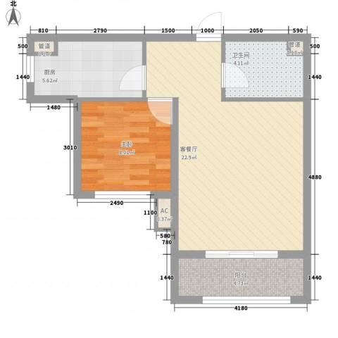 戴斯酒店上海公馆1室1厅1卫1厨67.00㎡户型图