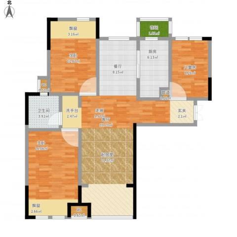 橡树城3室1厅1卫1厨128.00㎡户型图