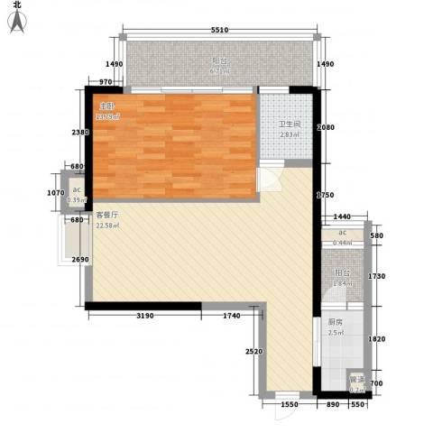 君悦黄金海岸1室1厅1卫1厨76.00㎡户型图
