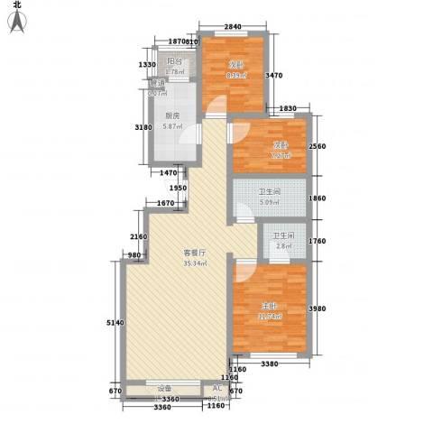 天伦随园3室1厅2卫1厨118.00㎡户型图