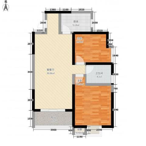 金街坊2室1厅1卫1厨68.50㎡户型图
