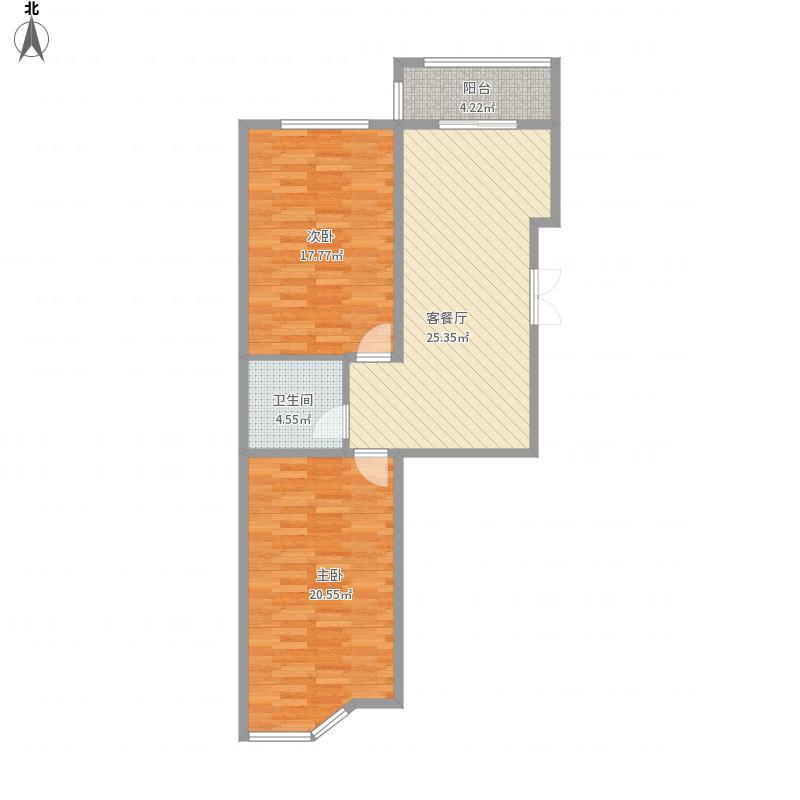 B户型两室一厅一卫100平米