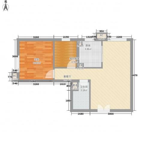建工・郭庄家园1室1厅1卫1厨54.75㎡户型图