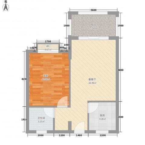 圣煜颐山居1室1厅1卫1厨46.25㎡户型图