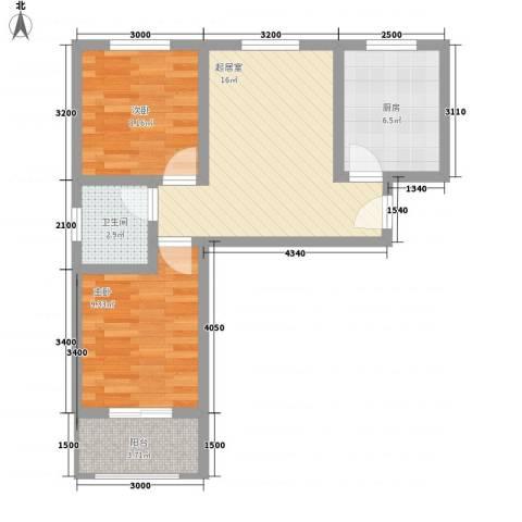 梦驼梁2室0厅1卫1厨55.02㎡户型图