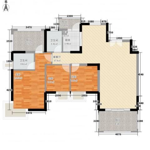 鸿景园3室1厅2卫1厨135.00㎡户型图