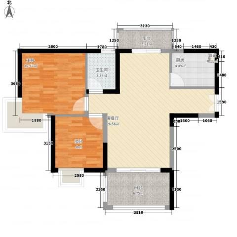 鸿景园2室1厅1卫1厨93.00㎡户型图