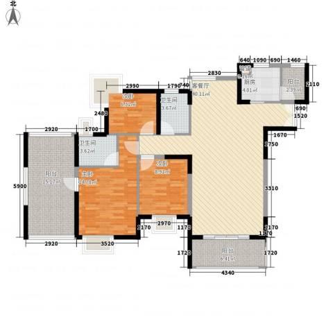 鸿景园3室1厅2卫1厨149.00㎡户型图