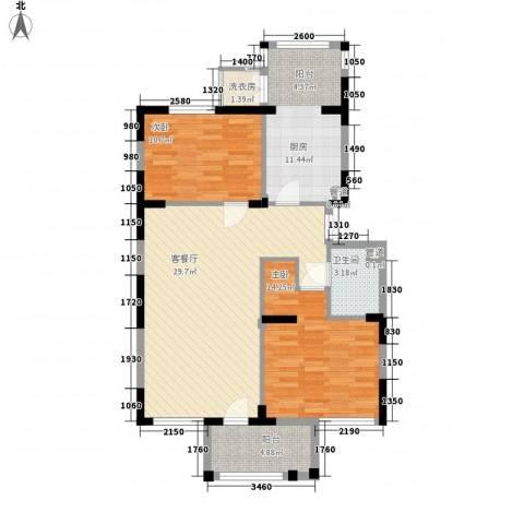 龙泽苑东区2室1厅1卫1厨107.00㎡户型图