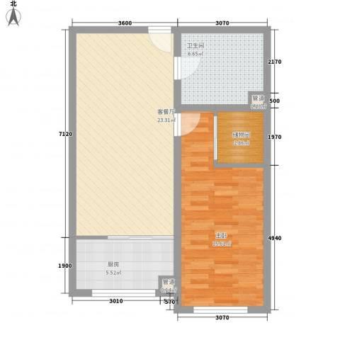 青川嘉园1室1厅1卫1厨77.00㎡户型图