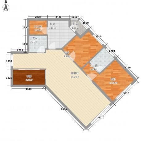 阳光100国际公寓3室1厅2卫1厨91.00㎡户型图