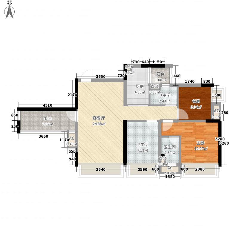 万科金域蓝湾105.00㎡万科金域蓝湾户型图紫兰苑1座4-19层01单元3室2厅2卫户型3室2厅2卫