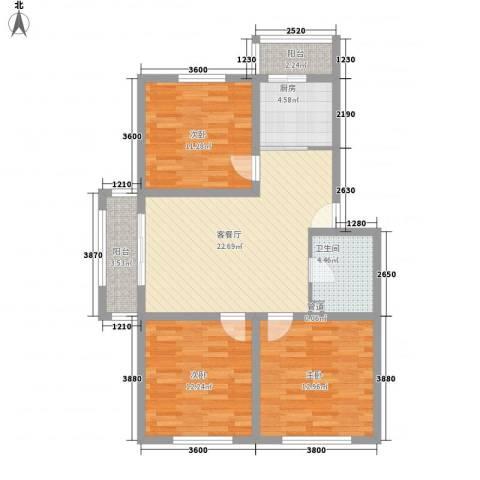 工行小区3室1厅1卫1厨107.00㎡户型图