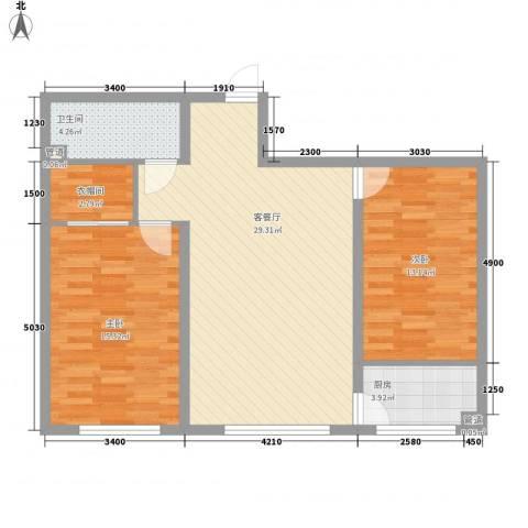 青川嘉园2室1厅1卫1厨97.00㎡户型图