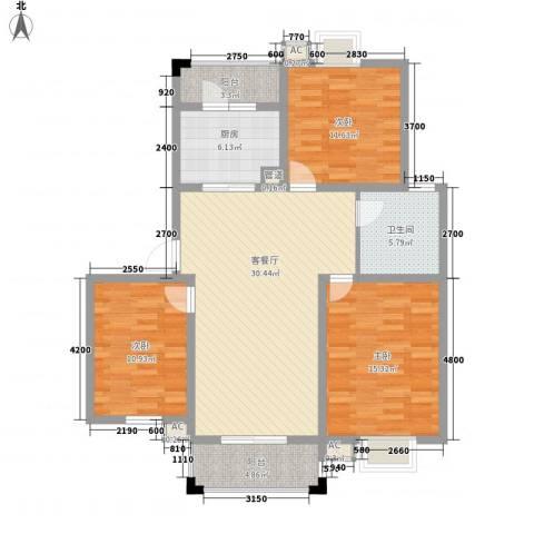 恒盛泰晤士印象3室1厅1卫1厨89.39㎡户型图