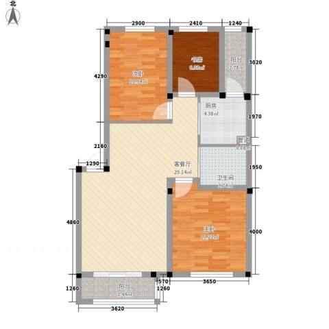 阳光嘉年华3室1厅1卫1厨96.00㎡户型图