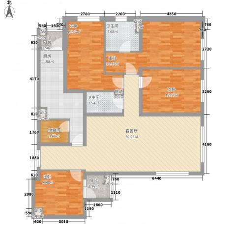 阳光100国际公寓4室1厅2卫1厨139.00㎡户型图