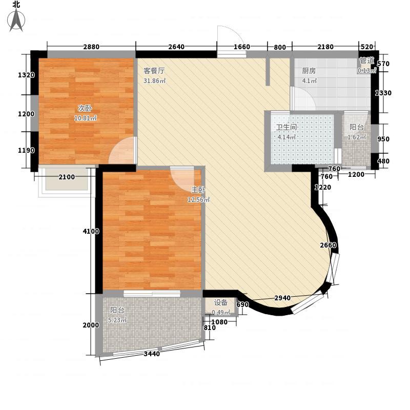 恒立佘山98号93.40㎡二期高层9#楼U户型2室2厅1卫1厨