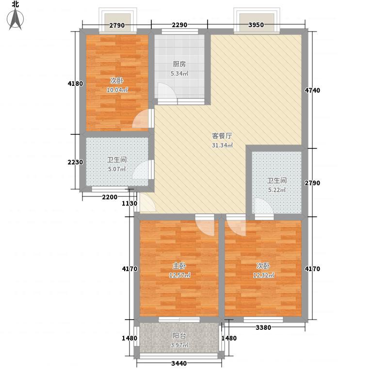 鑫江花园124.08㎡鑫江花园户型图E3室2厅户型3室2厅