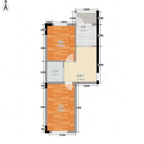 阳光嘉年华2室1厅1卫1厨67.00㎡户型图