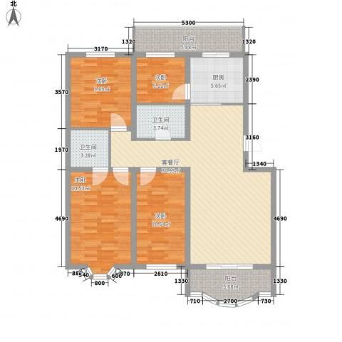 万达花园4室1厅2卫1厨133.00㎡户型图