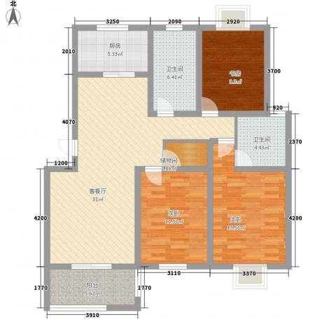 星鑫家园3室1厅2卫1厨129.00㎡户型图
