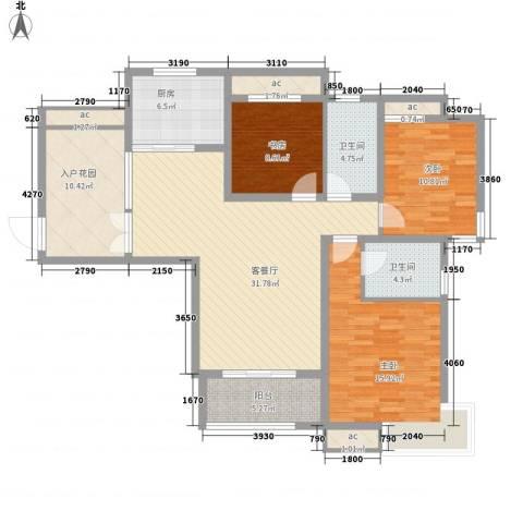 春晖路司法警官学校3室1厅2卫1厨145.00㎡户型图