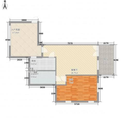 戴河庭院1室1厅1卫1厨84.00㎡户型图