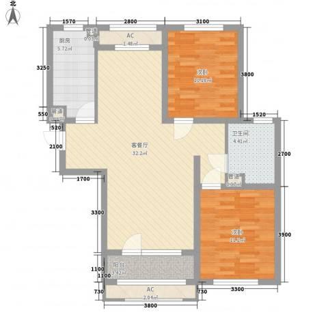紫林湾2室1厅1卫1厨104.00㎡户型图