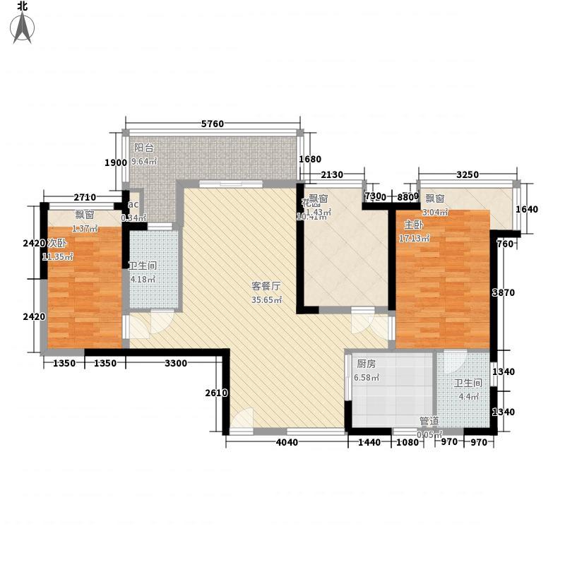 五洲东方墅13.10㎡B1户型3室2厅2卫1厨