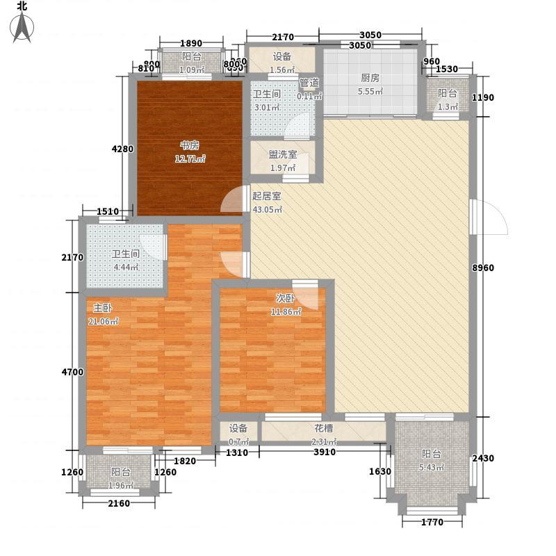 波塔东郡100.00㎡波塔东郡户型图一期1-10号楼全6层E户型3室2厅2卫1厨户型3室2厅2卫1厨