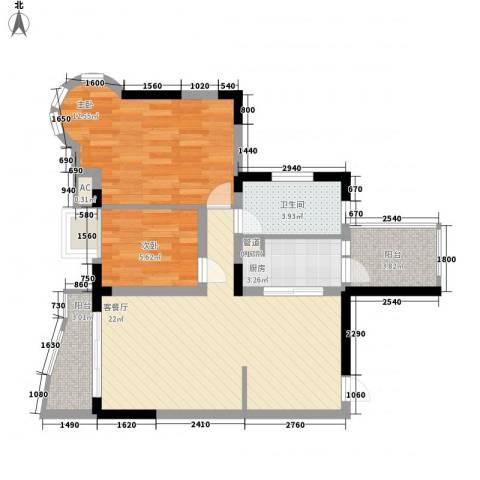 信义一号2室1厅1卫1厨80.00㎡户型图