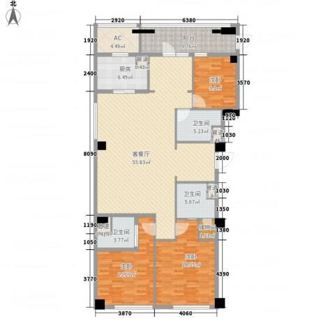 绿城�园3室1厅3卫1厨193.00㎡户型图