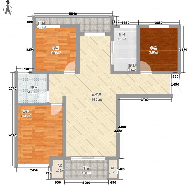 幸福天地户型图B1户型 3室2厅1卫1厨
