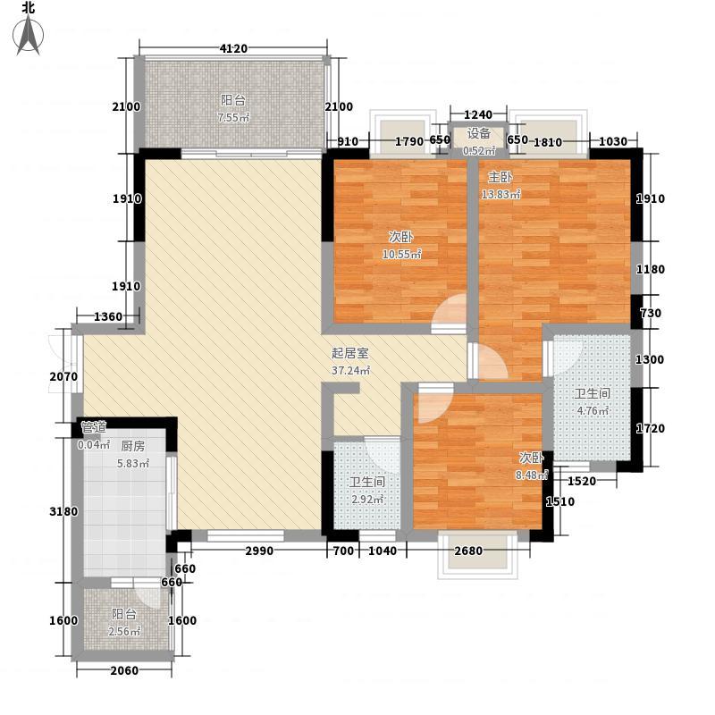 桃园柳岸128.98㎡C5型户型3室2厅2卫1厨
