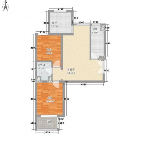 建工・郭庄家园2室2厅1卫1厨70.58㎡户型图