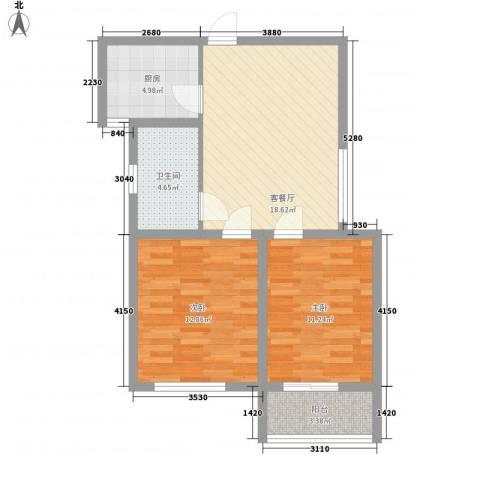 南门华府2室1厅1卫1厨80.00㎡户型图