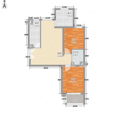 建工・郭庄家园2室2厅1卫1厨72.96㎡户型图