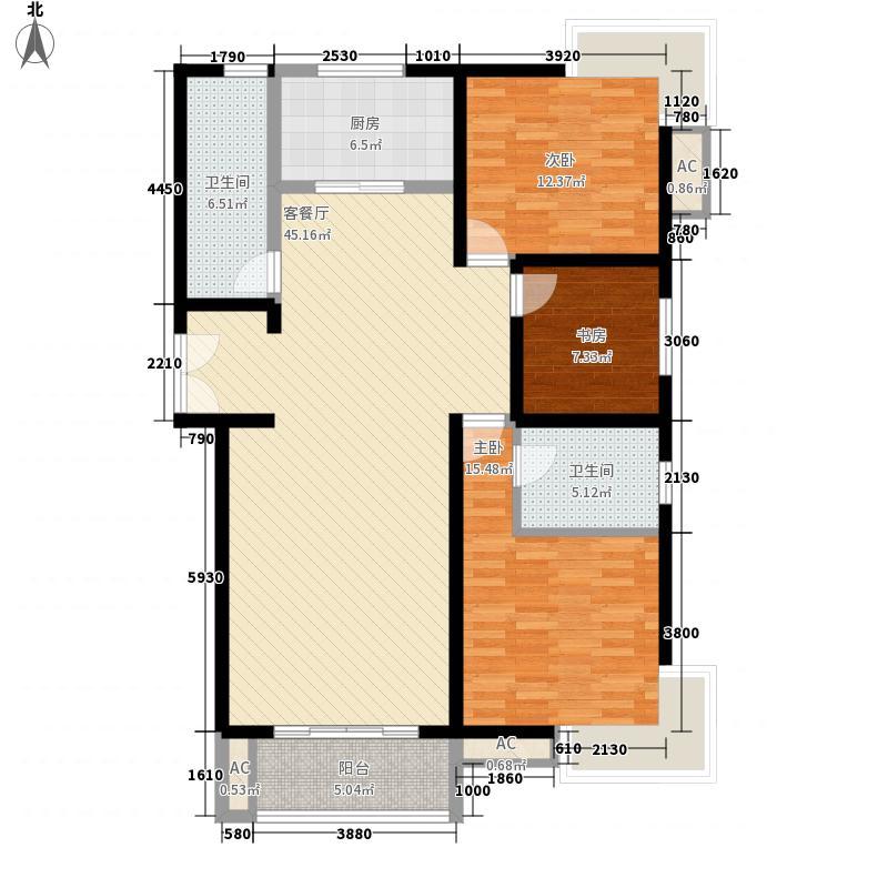倚能黄河家园150.47㎡二期户型4户型3室2厅2卫1厨