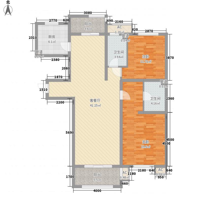 东方太阳城三期琴湖湾125.18㎡B33户型2室2厅2卫1厨