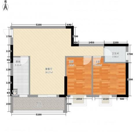 孟乐新城2室1厅1卫1厨81.00㎡户型图