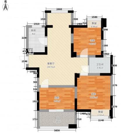 碧城云庭3室1厅1卫1厨89.00㎡户型图