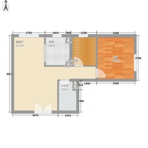 建工・郭庄家园1室1厅1卫1厨54.55㎡户型图