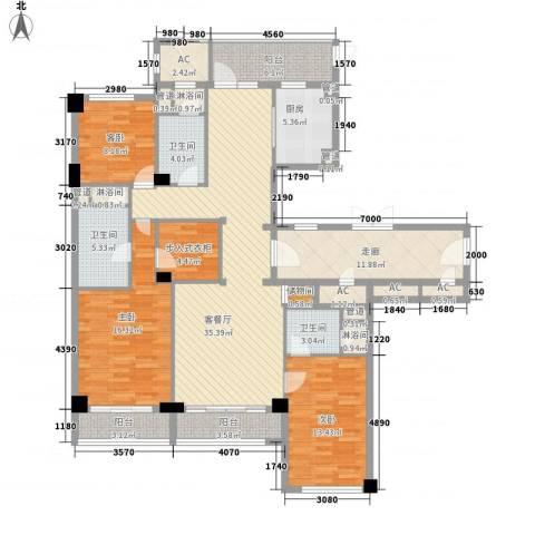 绿城�园3室1厅3卫1厨189.00㎡户型图