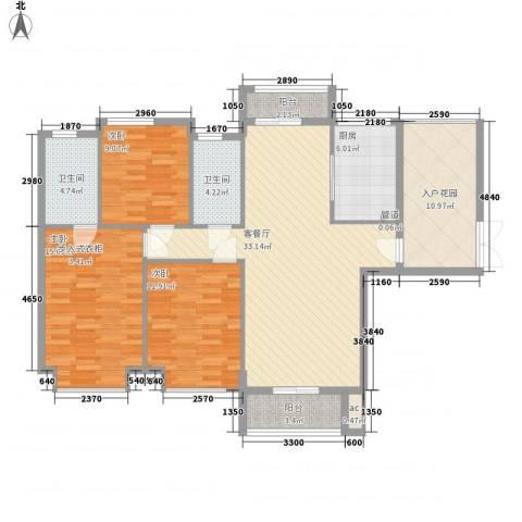 龙湖公馆3室1厅2卫1厨144.00㎡户型图