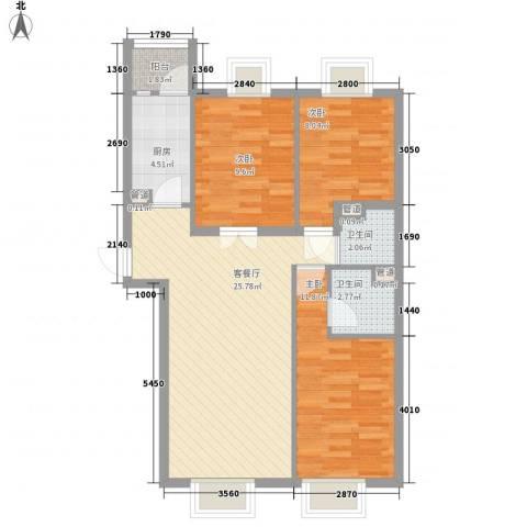 罗马花园3室1厅2卫1厨95.00㎡户型图