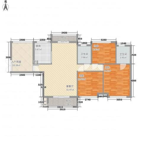 龙湖公馆3室1厅2卫1厨135.00㎡户型图