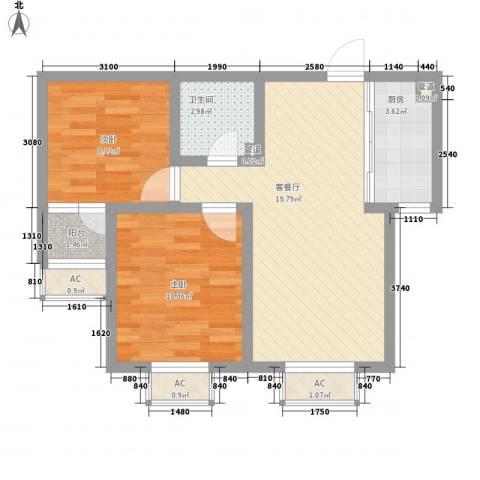 家合园二期2室1厅1卫1厨74.00㎡户型图