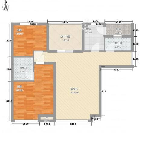 龙湖公馆2室1厅2卫1厨74.95㎡户型图