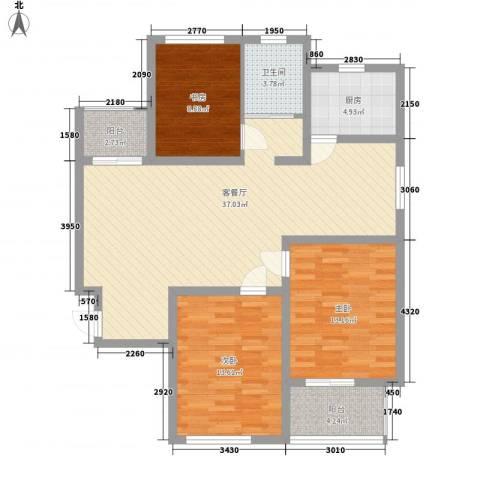 南门华府3室1厅1卫1厨126.00㎡户型图